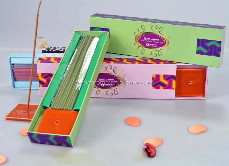 Home decoration incense stick with ceramic holder and color paper box