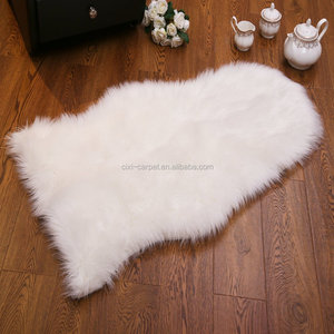 Great quality artificial black white sheepskin wholesale carpet fur leather rug