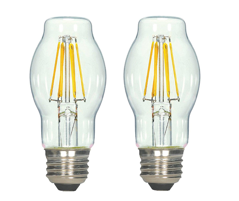 Dysmio Lighting - 4.5 Watt (40 Watt Equivalent) BT15 Dimmable Filament LED Light Bulb, 2700K Clear, E26 (Pack of 2)