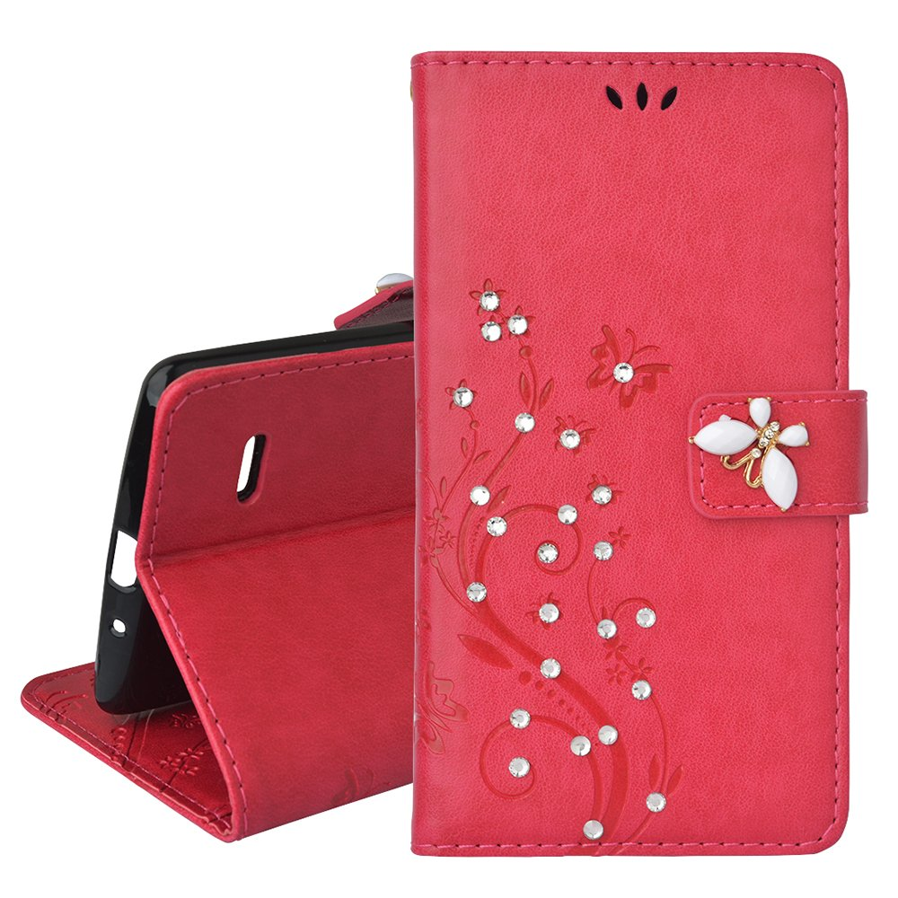 Spritech(TM) LG G Stylo Cellphone Bling Case,PU Leather Wallet Slim Fold Phone Cover 3D Handmade Bling Rhinestone Floral Design with Card Slot,Red