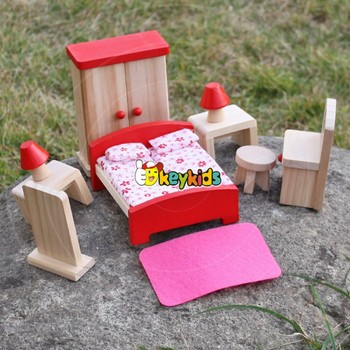 2017 Wholesale Pink Girls Wooden Dollhouse Furniture Best Design Children Miniature Toy Wooden