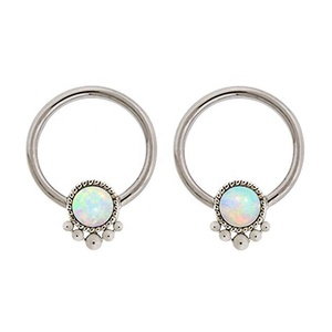 Synthetic White fire Opal indonesian bead Captive Ring lip, belly, nipple, cartilage, tragus, septum, earring body Jewelry pierc