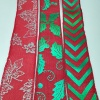 printed christmas ribbon with glitter, Christmas ribbon rolls decorative ribbon