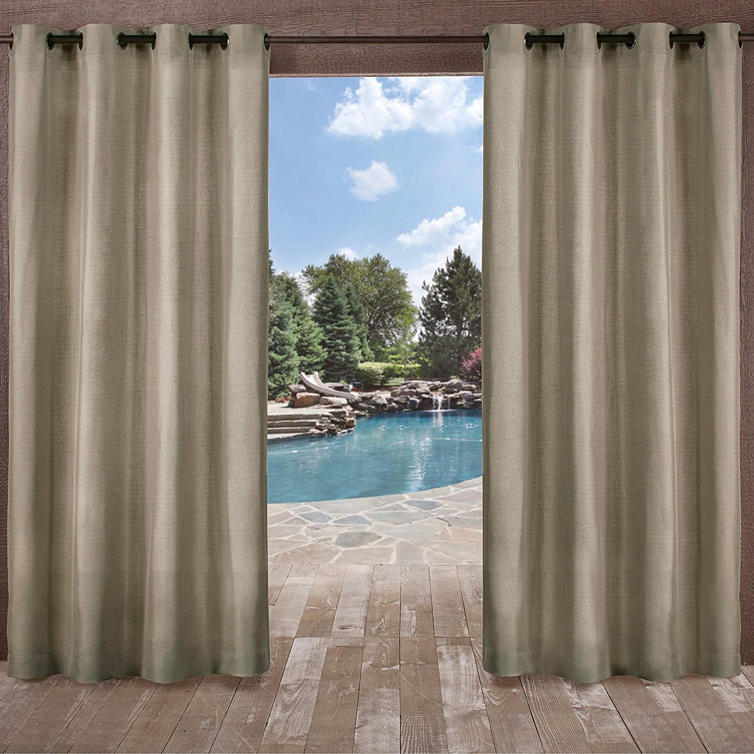 UK4 2 Piece 108 Inch Sand Indoor Outdoor Two Tone Textured Gazebo Curtain, Light Brown Window Treatment Panel Pair, Patio Porch Cabana Dock Grommet Top Pergola Drapes, Casual Contemporary Polyester