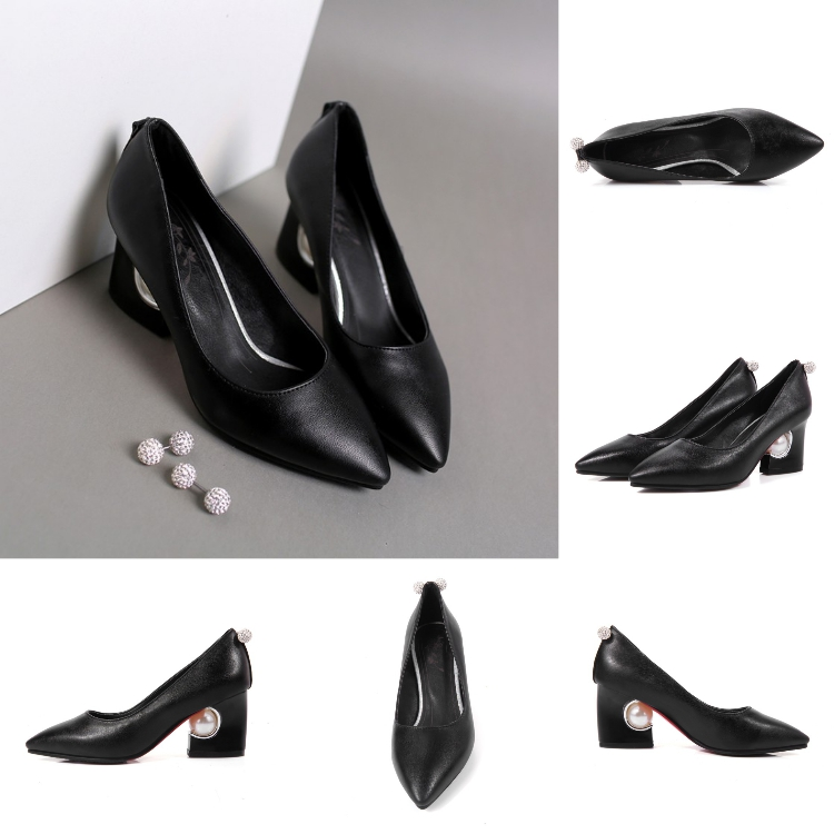 2018 fashion China women shoes factory alibaba thick heeled pu upper pumps women high heel shoes jobs