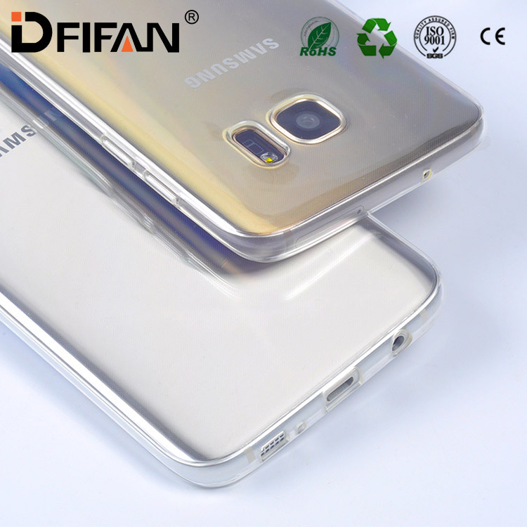 Mobile Phone Accessories Soft TPU Crystal Clear Slim Full Body Protective Cover Case for Samsung S7