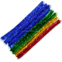 big tinsel chenille stem/big metallic pipe cleaner/glitter chenille stem