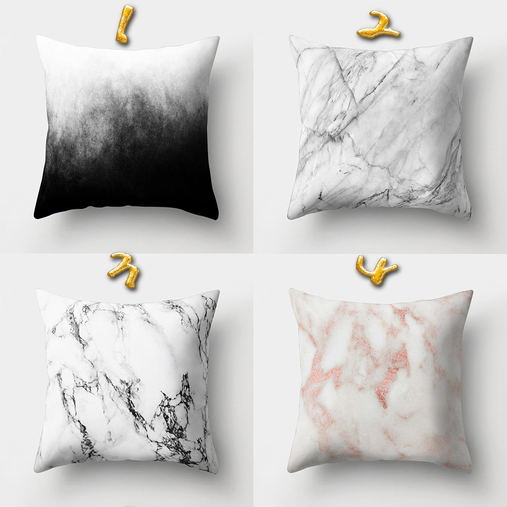 Pastel Marble Texture Design Polyester Peach Skin Square Throw Pillow Case Cushion Covers Home Sofa Decorative 18 x 18 Inches