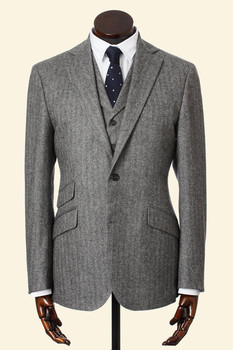Tailor Made Grey Herringbone Cashmere Wool Scottish Borders Tweed 3