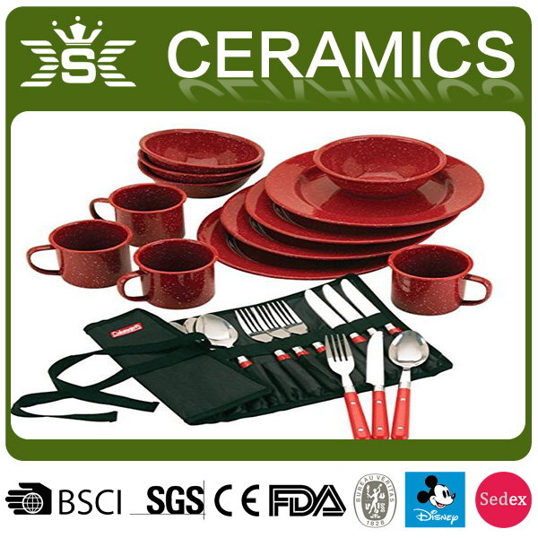 2017 Red Camping Enamel Dinnerware Sets
