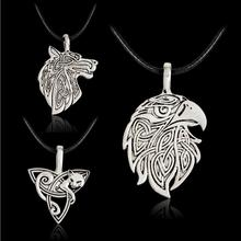 Men's Large Viking Jewelry Fox Triquetra Fenrir Animal Teen Wolf Necklace Irish Knot Pendant Amulet Necklace