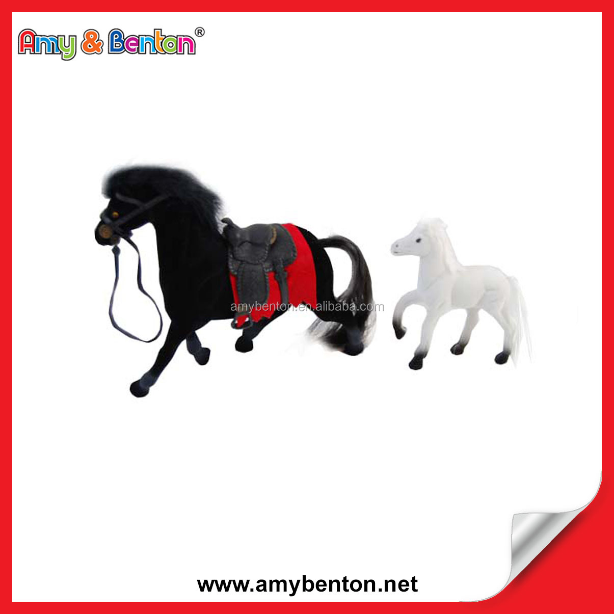 Hot Sale Lifelike With A White Horse Flocked Horse Toy