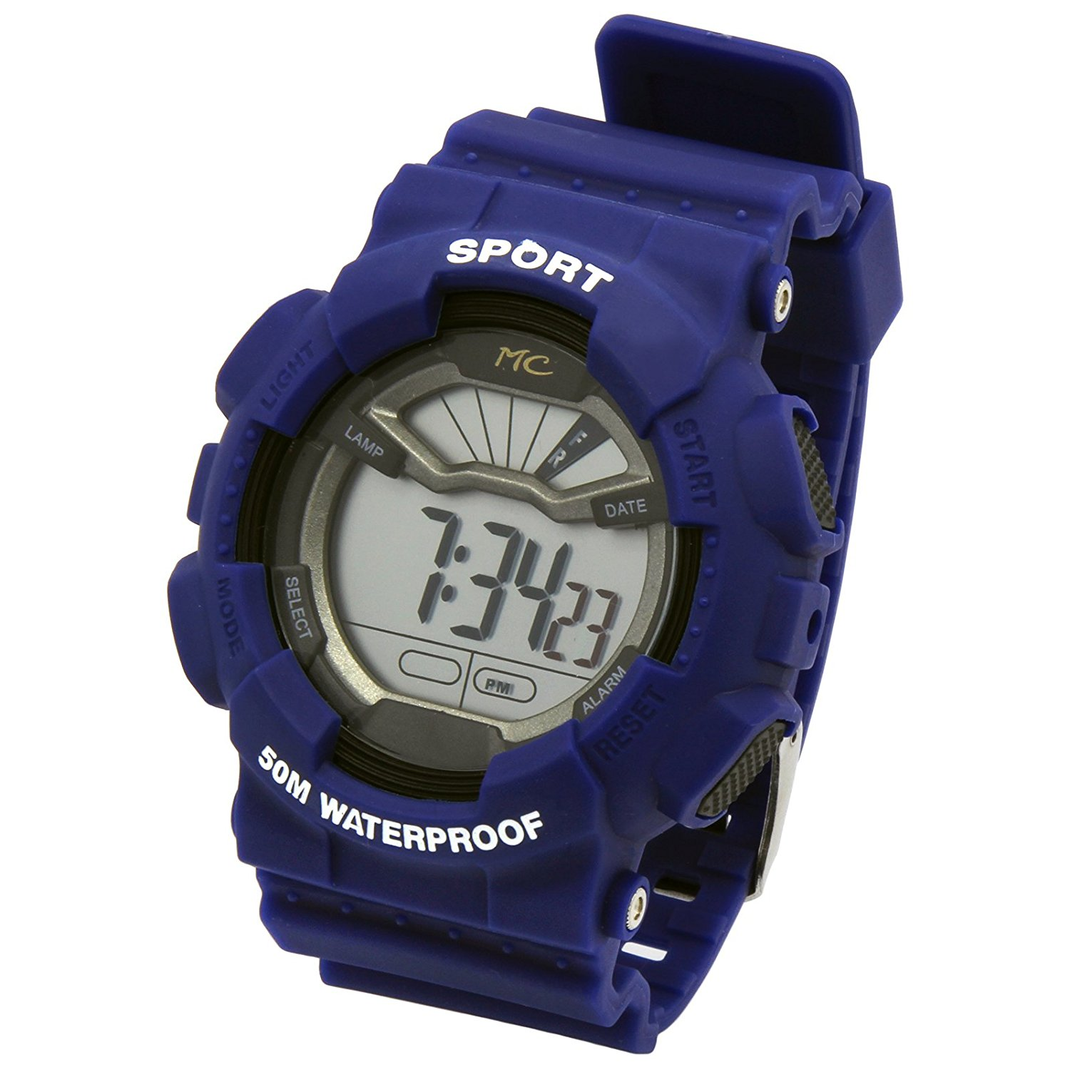 Mens Blue Sport Shock Resistant LED Digital Wrist Watch with Alarm Water Proof Watches