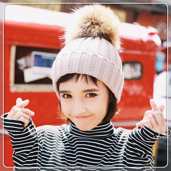 58e51da150c H1 18cm large Raccoon fur ball beanie hat pom pom knitting women hats  wholesale winter ladies