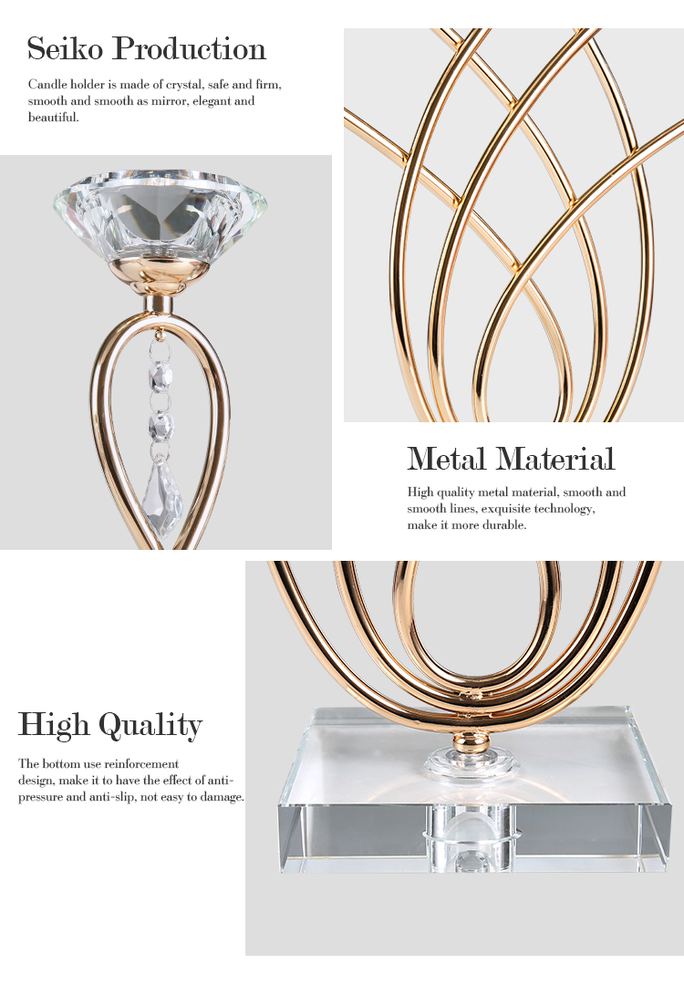 Home goods crystal metal christmas tree long-stemmed glass decorative metal rose gold copper candle stick holder