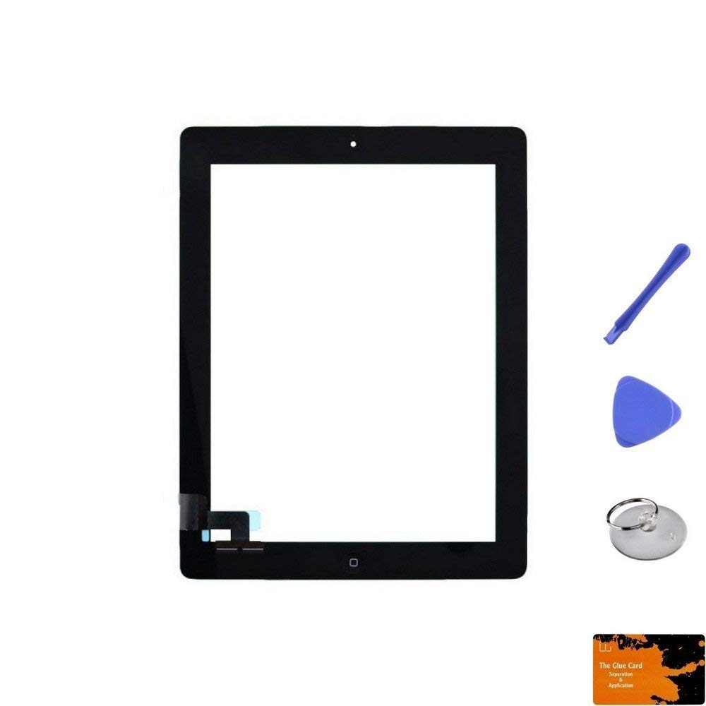 Digitizer & Home Button Assembly for Apple iPad 2 (Black) & Glue Card, Suction Cup, Tri Pri, Cross Pry Tools