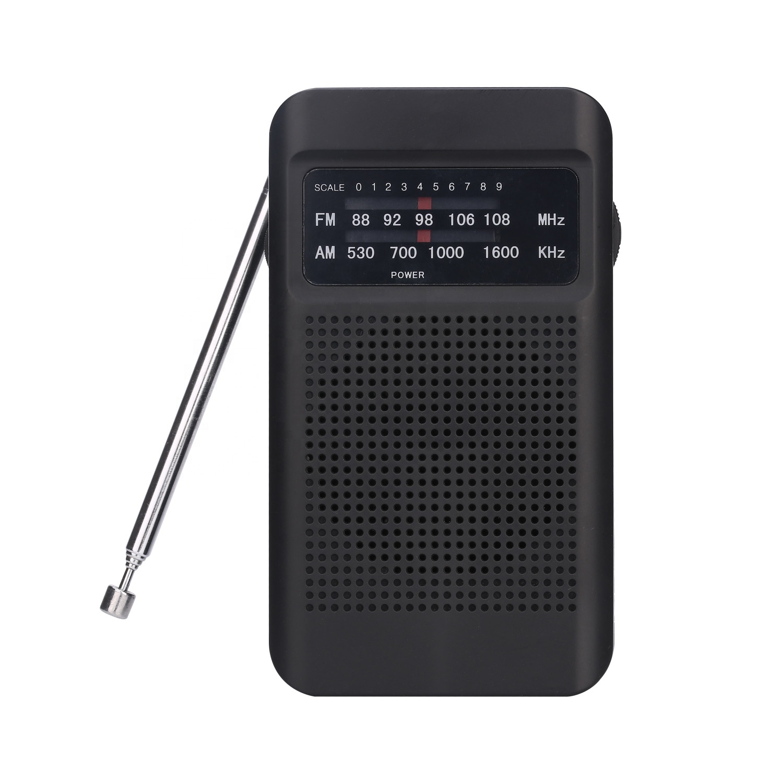 Pabrik Pasokan Langsung Promosi Penjualan Tangan Ukuran Saku Radio Portable AM/FM Radio 2 Band Radio dengan Telinga Jack dengan Kekuatan Cahaya