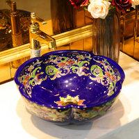 Handmade purple flower shape sink ceramic vessel sink