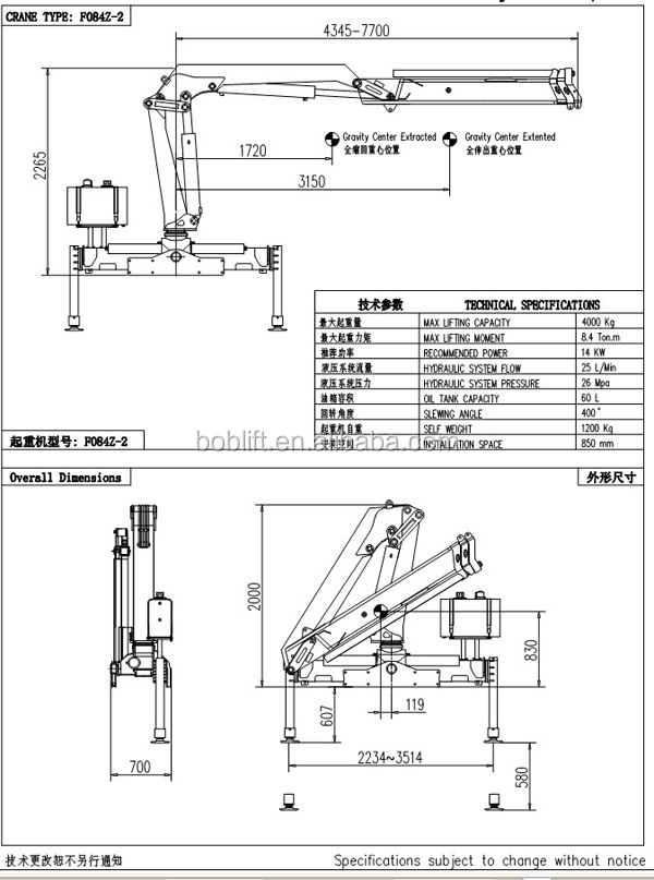 New Cheap Knuckle Boom Hydraulic Small Concrete Placing Truck Crane 4 Ton For Sale SQ4ZA2