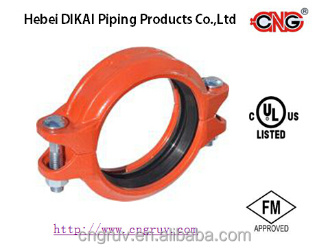 FM UL approved epoxy coated ductile iron grooved pipe fittings of flexible coupling