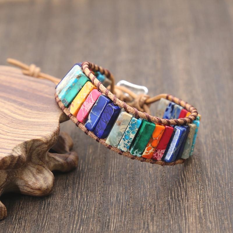 Chakra Bracelet Handmade Leather Wrap Multi Color Stone Tube Beads Bracelet 1PC