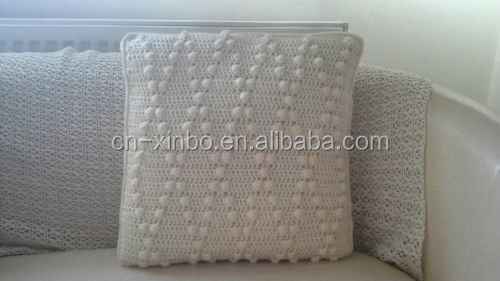 Diamond crochet cream cushion cover