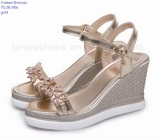 Durable Big Size Jeweled Wedges Women Sandals Shoes