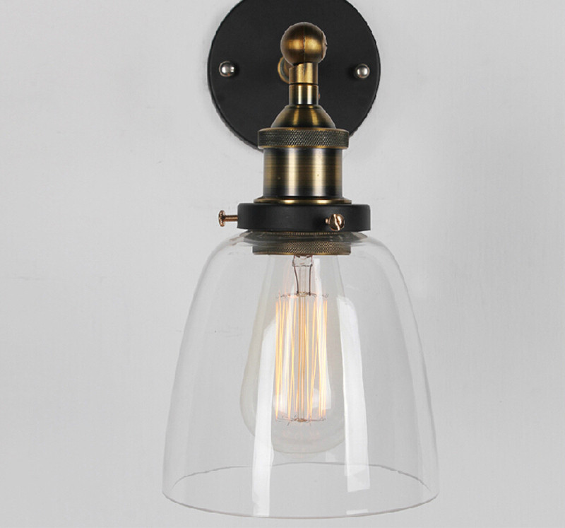 Vintage Clear Glass Wall Sconce Warehouse Wall Light