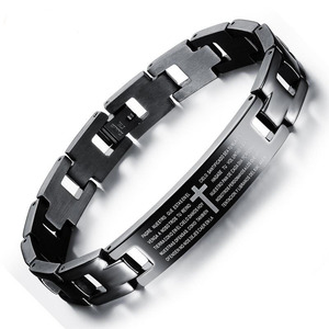 Spanish Bible Prayer Ring Bracelet Cross Men Stainless Steel Religious Bracelets