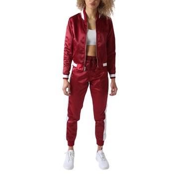 Mode Satin Bomber und Jogger Damen Trainingsanzüge
