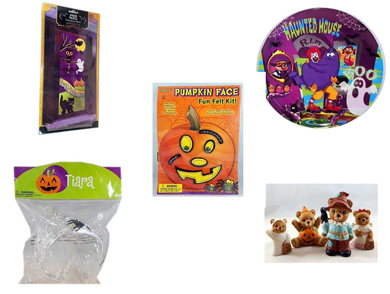 Halloween Fun Gift Bundle [5 piece] - Happy Halloween Door Panel - McDonald's Haunted House, RIP, Boo Halloween Plate - Darice Pumpkin Face Fun Felt Kit - Stitches - Halloween Spider Tiara - Homco H