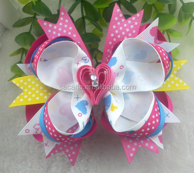 Hearts Ribbon Hair Bow Clip Handmade Valentines Day