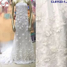 2017 Elegant Wedding White Lace Fabric Embroidery 3D haute couture embroidery fabric For Wedding Dress Bridal Gown CL61123