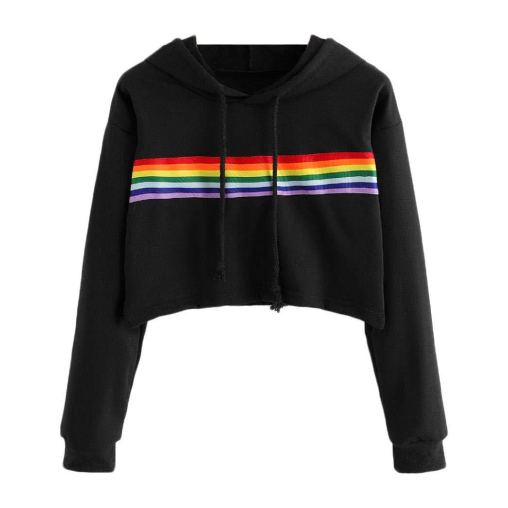 WM & MW Womens Short Hoodie Long Sleeve Rainbow Striped Patchwork Hooded Sweatshirt Pullover T-Shirt Crop Tops Blouse