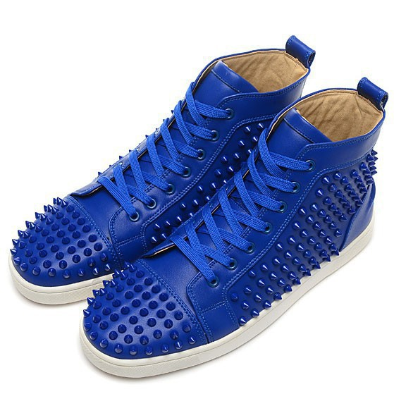 2015 New arrival summer style best quality men shoes spikes mens flat high top leather sneakers breathable genuine leather shoes
