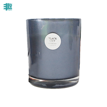 chinese supplier custom printed colored glass candle jar with lid