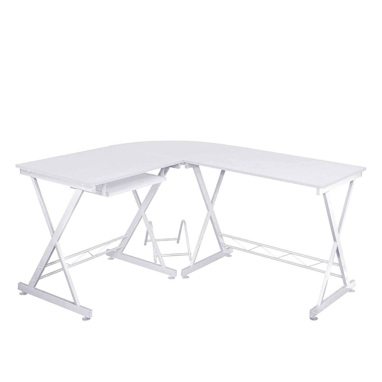 Fineboard Home Office L-Shaped Corner Desk, White