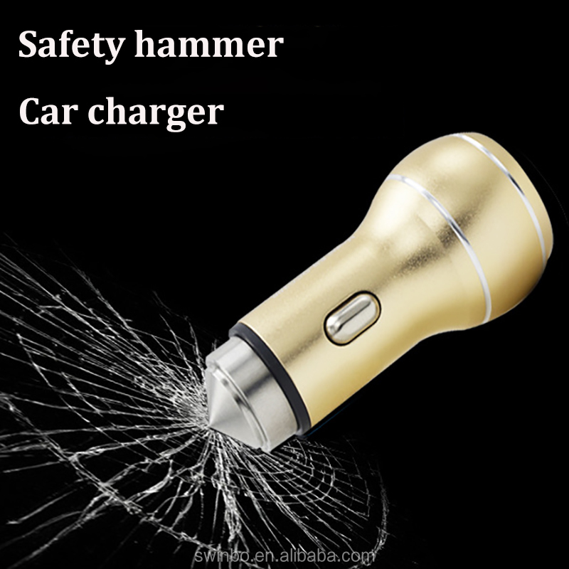 Metal Car Charger Dual Quick Charge 3.0 USB Phone Safty Hammer Available Blue Positioning Smart Phone for iPhone 6s 7 8