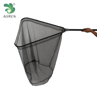 Rubber Fishing Landing Nets With Telescopic Aluminum Handle Strong Arms