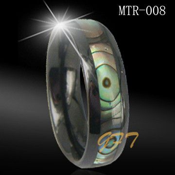 Fashionable shell inlaid mens tungsten carbide rings
