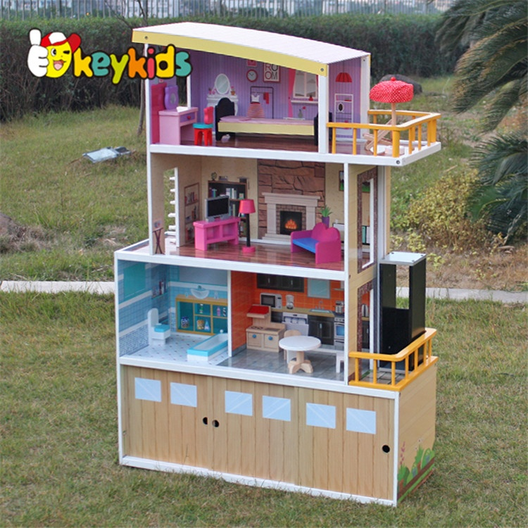 New design beachfront mansion wooden doll dream house for pretend W06A153