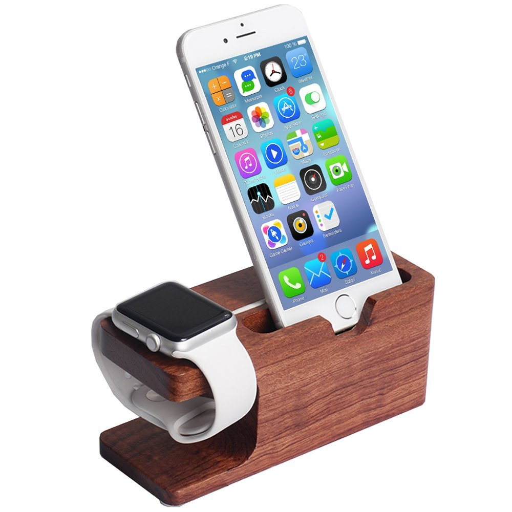 2017 New Product for Apple Watch Stand Wood Charging Station Wooden Dock 2 in 1 Bamboo Stand Desk Holder for iPhone watch pad