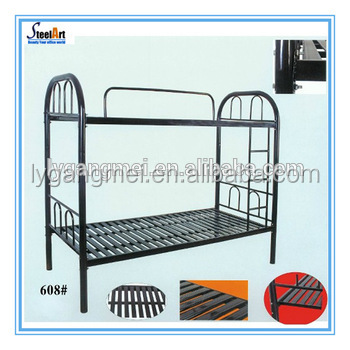 Lowest price single dormitory metal bed black office rest room metal bunk bed with iron ladder