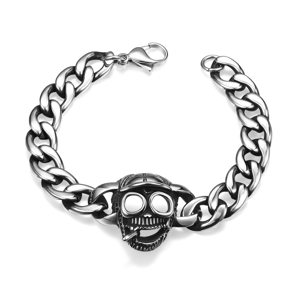 2017 New arrival antique link chain skull bracelets mens jewelry