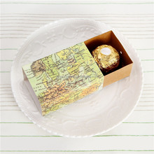 """Around the World"" Map Favor candy Box for traveling theme wedding decoration gift Kraft box Party favor"