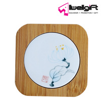 China style square ceramic pad mat coaster with bamboo back for home decoration promotion