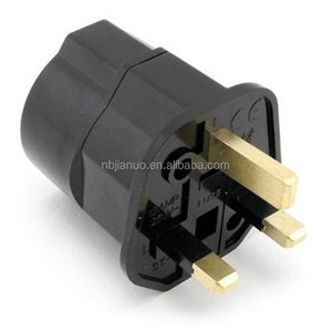 Black 13A fused uk to euro plug adapter