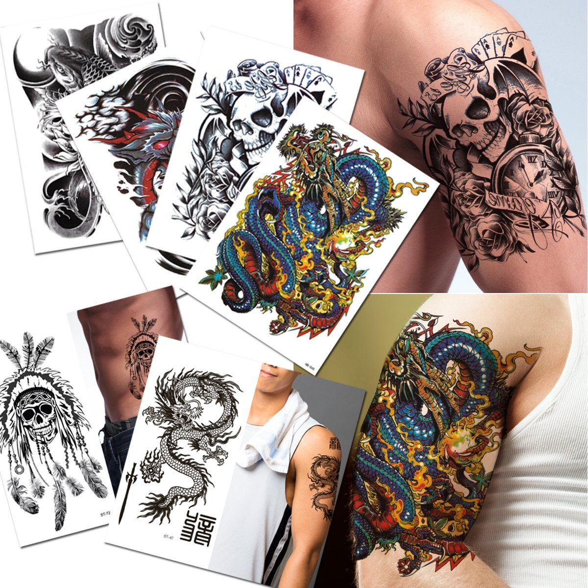 87e5e04f9a1a1 Get Quotations · 6-pack Halloween Skull Fish Dragon Temporary Tattoos Lower  Back Shoulder Neck Arm Temporary Tattoos