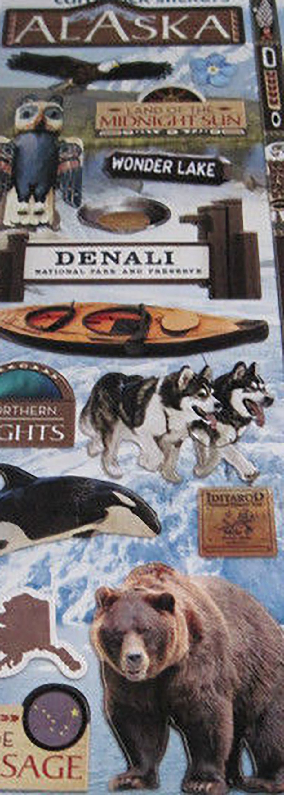 """Custom & Decorative {1"""" to 3"""" Inch} 18 Piece Pack of Mid-Size Stickers for Arts, Crafts & Scrapbooking w/ """"Alaska"""" """"Northern Lights"""" Orca Wolves Bear {Blue, Brown, Black, White, & Grey}"""