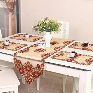 Ustide European Style Handmade Table Runner Rustic Floral Pattern Table Runner for Christmas Hand Embroider Flower Table Decoration Transparent Table Pad, 15-inch Wide By 57-inch Long